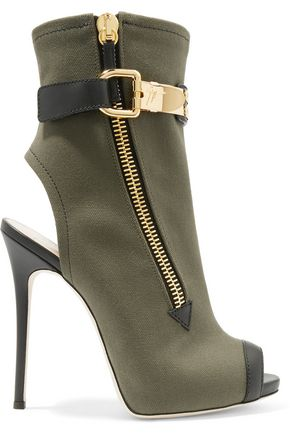 GIUSEPPE ZANOTTI Roxie leather-trimmed canvas ankle boots