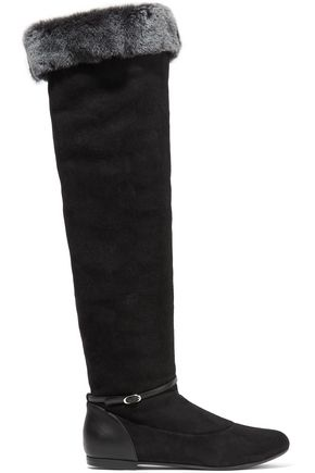 GIUSEPPE ZANOTTI Faux fur-trimmed suede and leather knee boots