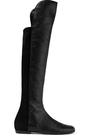 GIUSEPPE ZANOTTI Paneled leather and suede knee boots