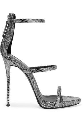 GIUSEPPE ZANOTTI Metallic lizard-effect leather sandals