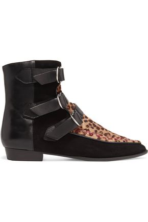 ISABEL MARANT Rowi leather, suede and leopard-print calf hair boots
