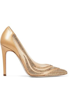 RENE' CAOVILLA Paneled crystal-embellished satin, mesh and leather pumps