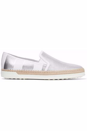TOD'S Metallic striped leather espadrille slip-on sneakers