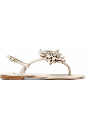 AERIN Floral-appliquéd textured-leather sandals