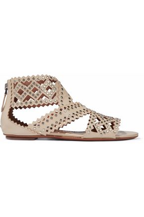 ALAÏA Studded laser-cut leather sandals
