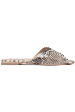 GABRIELA HEARST Snake-effect leather slides