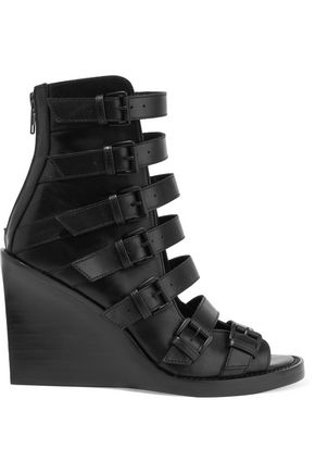 ANN DEMEULEMEESTER Buckled leather wedge sandals