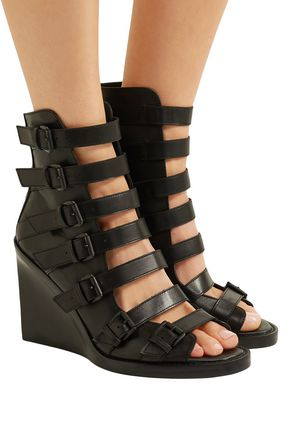 ANN DEMEULEMEESTER Buckled wedge sandals Free Shipping Buy CaODgd