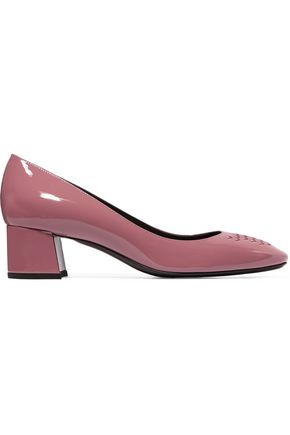BOTTEGA VENETA Intrecciato patent-leather pumps