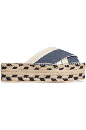 STELLA McCARTNEY Denim and canvas espadrille platform sandals