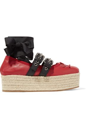 MIU MIU Buckled leather platform espadrilles