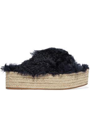 MIU MIU Faux shearling espadrille platform sandals