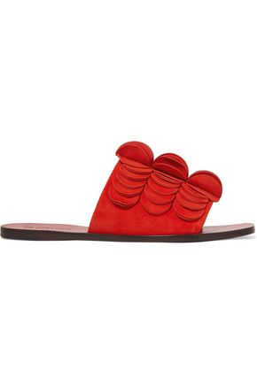 MERCEDES CASTILLO Delphia appliquéd leather slides