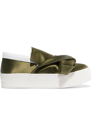 N° 21 Knotted satin slip-on sneakers