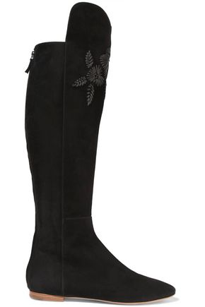 AERIN Embroidered suede knee boots