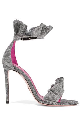 OSCAR TIYE Antoinette ruffle-trimmed textured-lamé sandals