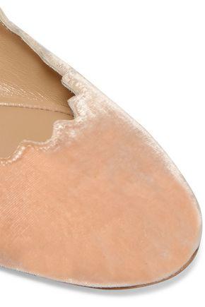 CHLOÉ Lauren scalloped velvet ballet flats