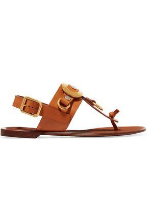 CHLOÉ Embellished leather slingback sandals