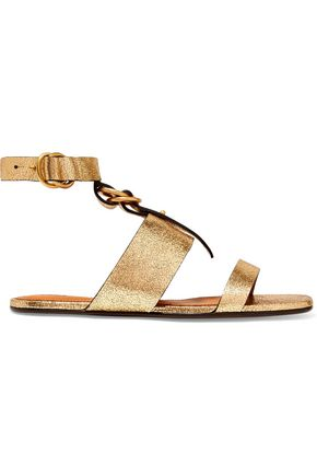 CHLOÉ Metallic cracked-leather sandals