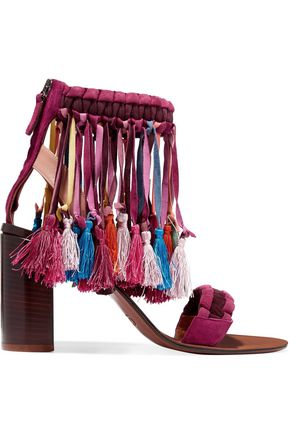 CHLOÉ Tassel-trimmed fringed braided suede sandals