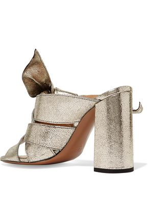 ... CHLOÉ Knotted metallic textured-leather mules