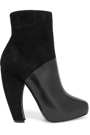 DONNA KARAN Suede and leather ankle boots