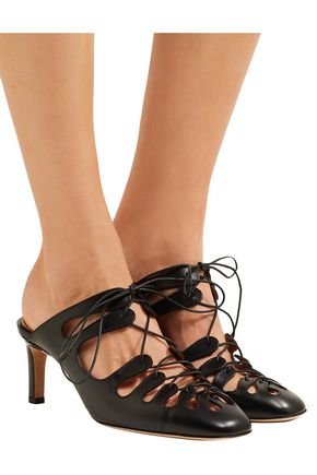 The Row Dixie Leather Lace-Up Mules l5uV1hrf