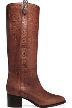 VALENTINO GARAVANI Embossed leather knee boots