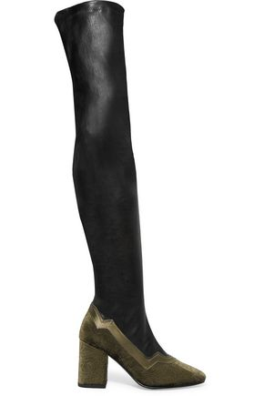 MR by MAN REPELLER The I'm Really Here To Party leather and  embossed velvet over-the-knee boots