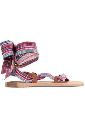 BROTHER VELLIES Zanzibar lace-up woven canvas sandals