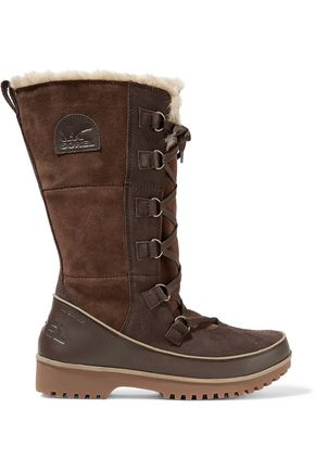 SOREL Lace-up suede and shearling snow boots
