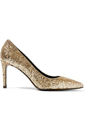 SAINT LAURENT Glittered leather pumps
