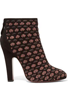 ALAÏA Laser-cut suede ankle boots