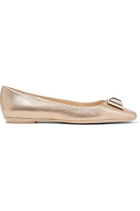 EMILIO PUCCI Metallic embellished textured-leather ballet flats