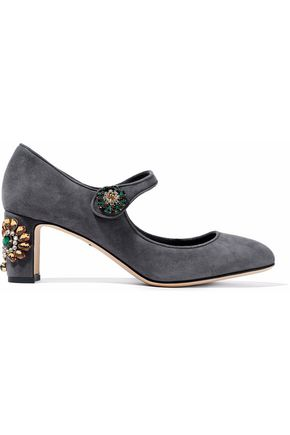 DOLCE & GABBANA Vally embellished suede pumps