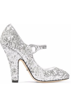 DOLCE & GABBANA Sequined metallic leather pumps