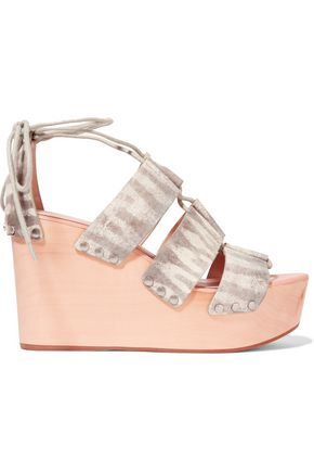 LOEFFLER RANDALL Snake-print leather wedge sandals