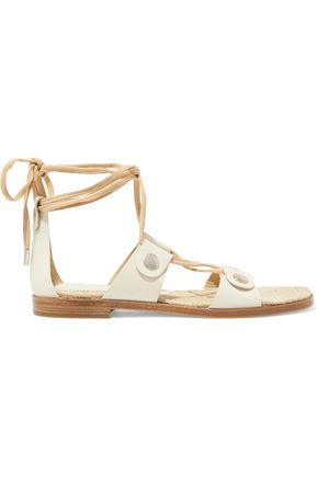 RAG & BONE Evelyn lace-up suede-trimmed leather sandals