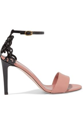 RED(V) Laser-cut matte and patent-leather sandals