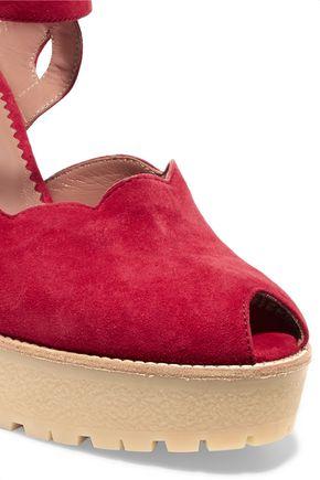 RED(V) Scalloped suede platform sandals