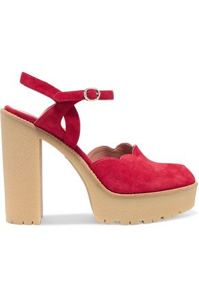 RED(V) Scalloped suede platform sandals