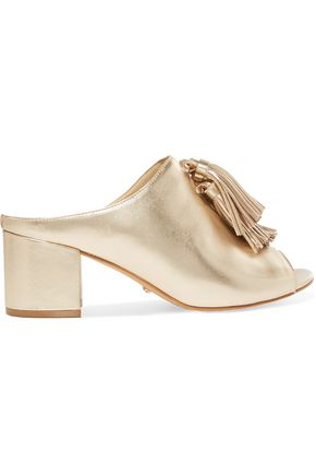 SCHUTZ Tasseled metallic leather mules
