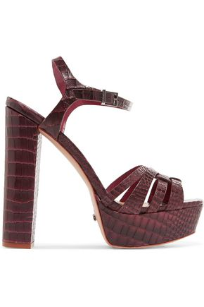 SCHUTZ Croc-effect leather platform sandals