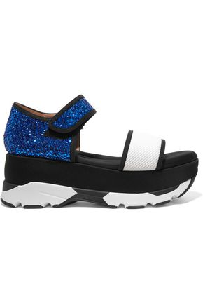 MARNI Color-block glittered leather and mesh platform sandals