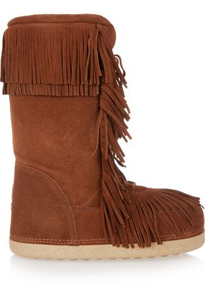 AQUAZZURA Boho Karlie shearling-lined fringed suede boots