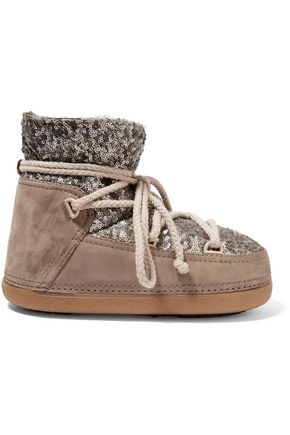 INUIKII Faux fur-trimmed embellished suede ankle boots