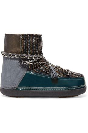 INUIKII Chain-trimmed bouclé, suede and leather ankle boots