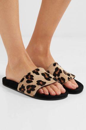 5f5df85f3930 ... ADIDAS ORIGINALS Adilette leopard-print calf hair and suede slides ...