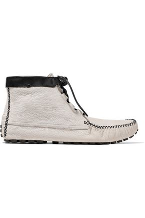 SERGIO ROSSI Pebbled-leather moccasins