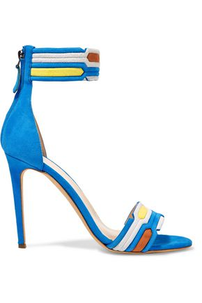 PETER PILOTTO Quilted suede and snake-effect leather sandals